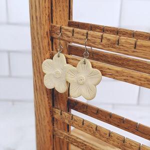 Craved wood flower dangling earrings